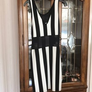 Gorgeous black & white striped dress w/black mesh